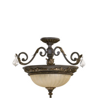 Quorum 2957-21-44 Rio Salado 3 Light 21 inch Toasted Sienna With Mystic Silver Dual Mount Ceiling Light