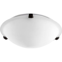 Quorum 3000-12186 Fort Worth 2 Light 12 inch Oiled Bronze Flush Mount Ceiling Light in Satin Opal