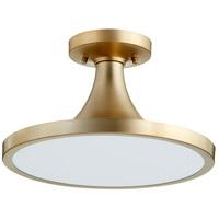 Quorum 3001-15-80 Bugle 1 Light 15 inch Aged Brass Flush Mount Ceiling Light