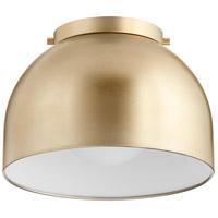 Quorum 3004-11-80 Dome 1 Light 11 inch Aged Brass Flush Mount Ceiling Light