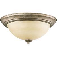 Quorum 3073-15-58 Signature 3 Light 16 inch Mystic Silver Flush Mount Ceiling Light