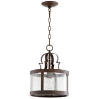 Quorum 3081-39 Champlain 11 inch Vintage Copper Pendant Ceiling Light Clear Water Glass