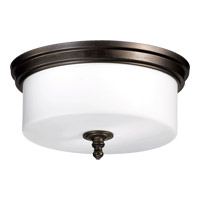 Quorum 3090-14-86 Rockwood 3 Light 14 inch Oiled Bronze Flush Mount Ceiling Light