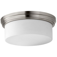 Rockwood 14 inch Satin Nickel Flush Mount Ceiling Light, Satin Opal