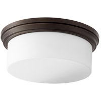 Rockwood 14 inch Oiled Bronze Flush Mount Ceiling Light, Satin Opal