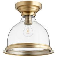 Quorum 3193-12-80 Signature 1 Light 12 inch Aged Brass Flush Mount Ceiling Light