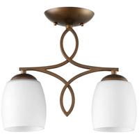 Quorum 3212-2-186 Willingham 2 Light 5 inch Oiled Bronze Ceiling Sink Ceiling Light, Satin Opal