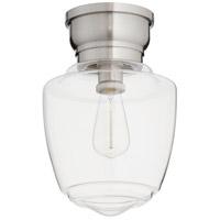 Quorum 3239-9-65 Signature 1 Light 9 inch Satin Nickel Semi Flush Mount Ceiling Light