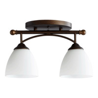 Quorum 3250-2-86 Brooks 2 Light 6 inch Oiled Bronze Flush Mount Ceiling Light