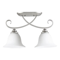 Quorum 3253-2-64 Celesta 2 Light 7 inch Classic Nickel Flush Mount Ceiling Light in Satin Opal