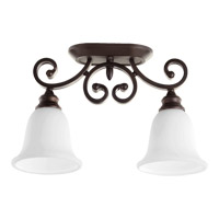 Quorum International Bryant 2 Light Sink Semi-Flush Mount in Oiled Bronze with Satin Opal Glass 3254-2-186