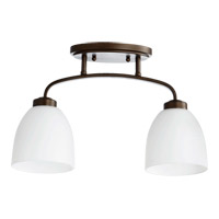 Quorum 3260-2-86 Reyes 2 Light 5 inch Oiled Bronze Flush Mount Ceiling Light