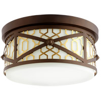 Quorum 340-14-80 Renzo 3 Light 12 inch Aged Brass with Oiled Bronze Flush Mount Ceiling Light