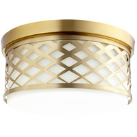 Quorum 341-14-80 Signature 3 Light 14 inch Aged Brass Flush Mount Ceiling Light