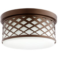Quorum 341-14-86 Signature 3 Light 14 inch Oiled Bronze Flush Mount Ceiling Light