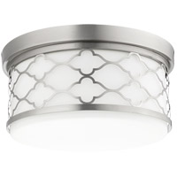 Quorum 343-14-65 Signature 3 Light 14 inch Satin Nickel Flush Mount Ceiling Light