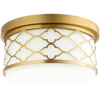 Quorum 343-14-80 Signature 3 Light 14 inch Aged Brass Flush Mount Ceiling Light