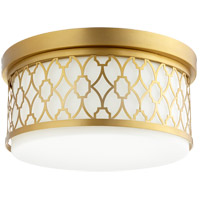 Quorum 344-14-80 Signature 3 Light 14 inch Aged Brass Flush Mount Ceiling Light