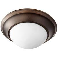 Quorum 3507-11-86 Signature 12 inch Oiled Bronze Flush Mount Ceiling Light Satin Opal