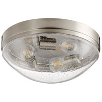 Quorum 3508-14-65 Fort Worth 3 Light 14 inch Satin Nickel Flush Mount Ceiling Light