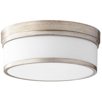 Quorum 3509-14-60 Celeste 14 inch Aged Silver Leaf Flush Mount Ceiling Light Satin Opal