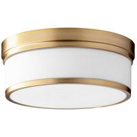 Quorum 3509-14-80 Celeste 14 inch Aged Brass Flush Mount Ceiling Light, Satin Opal