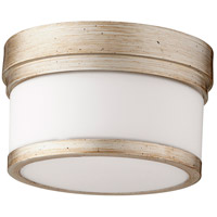Quorum 3509-9-60 Celeste 9 inch Aged Silver Leaf Flush Mount Ceiling Light, Satin Opal