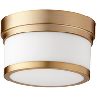 Quorum 3509-9-80 Celeste 9 inch Aged Brass Flush Mount Ceiling Light, Satin Opal