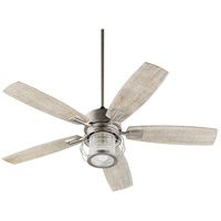 Quorum 3525-65 Galveston 52 inch Satin Nickel with Weathered Oak Blades Indoor Ceiling Fan