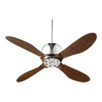 Quorum 36524-14 Elica 52 inch Chrome with Walnut Blades Ceiling Fan