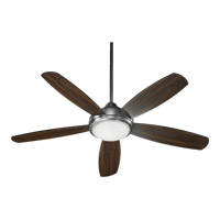Colton 52 inch Antique Silver Ceiling Fan in Antique Silver and Walnut