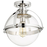 Quorum 38-13-62 Meridian 1 Light 13 inch Polished Nickel Semi Flush Mount Ceiling Light