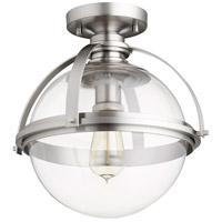 Quorum 38-13-65 Meridian 1 Light 13 inch Satin Nickel Semi Flush Mount Ceiling Light