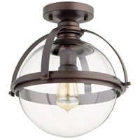 Quorum 38-13-86 Meridian 1 Light 13 inch Oiled Bronze Semi Flush Mount Ceiling Light