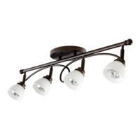 Quorum 3850-4-86 Brooks 4 Light 3 inch Oiled Bronze Flush Mount Ceiling Light