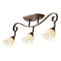 Quorum 3853-3-86 Celesta 3 Light 4 inch Oiled Bronze Flush Mount Ceiling Light in Amber Scavo