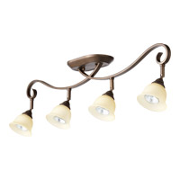 Quorum 3853-4-86 Celesta 4 Light 4 inch Oiled Bronze Flush Mount Ceiling Light in Amber Scavo