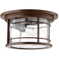 Quorum 3916-11186 Larson 11 inch Oiled Bronze Outdoor Ceiling Mount, Clear Hammered Glass