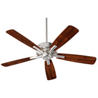 Villa 52 inch Satin Nickel with Silver/Walnut Blades Indoor Ceiling Fan