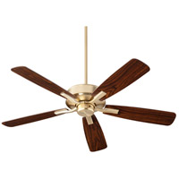 Villa 52 inch Aged Brass with Dark Oak/Walnut Blades Indoor Ceiling Fan