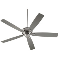 Quorum 42705-65 Alton 70 inch Satin Nickel with Reversible Satin Nickel and Walnut Blades Indoor Ceiling Fan