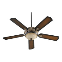 Galloway 52 inch Old World with Antique Flemish with Reversible Old World and Pecan Blades Ceiling Fan in Old World with Pecan
