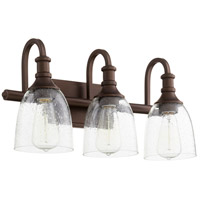 Quorum 5011-3-186 Richmond 3 Light 20 inch Oiled Bronze Vanity Light Wall Light in Clear Seeded