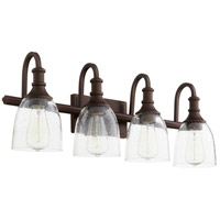 Quorum 5011-4-186 Richmond 4 Light 28 inch Oiled Bronze Vanity Light Wall Light in Clear Seeded