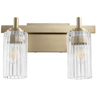 Quorum 502-2-80 Fort Worth 2 Light 15 inch Aged Brass Vanity Light Wall Light