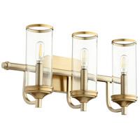Quorum 5044-3-80 Collins 3 Light 19 inch Aged Brass Vanity Light Wall Light