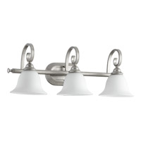 Quorum 5053-3-64 Celesta 3 Light 26 inch Classic Nickel Vanity Light Wall Light in Satin Opal