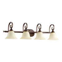 Quorum 5053-4-86 Celesta 4 Light 36 inch Oiled Bronze Vanity Light Wall Light in Amber Scavo