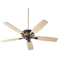 Quorum 50605-69 Gamble 60 inch Noir and Aged Brass with Matte Black and Weathered Gray Blades Ceiling Fan