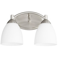 Quorum 5069-2-65 Barkley 2 Light 14 inch Satin Nickel Vanity Light Wall Light in Satin Opal